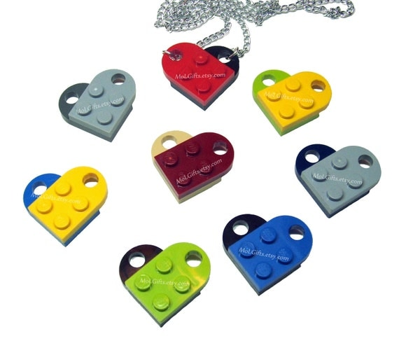 Crazy Heart Necklace made from Genuine LEGO (r) Heart Pieces -  Perfect for Valentine's Day
