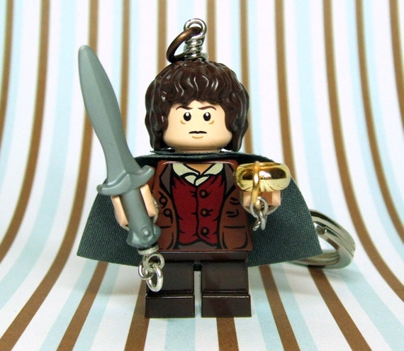 Frodo Keychain, made from New LOTR LEGO (r) Frodo Baggins Minifigure