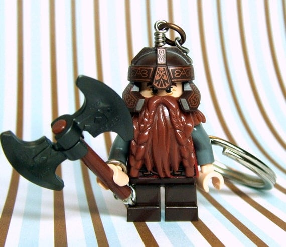 Gimli Key Chain, made from New LOTR LEGO (r) Gimli Minifigure