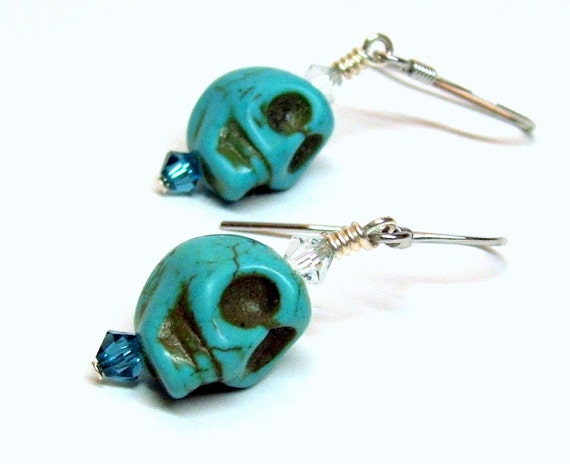 Turquoise Skull Earrings, Goth-Punk