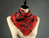 Vintage bright RED plaid SCOTTISH-style KERCHIEF with fringe