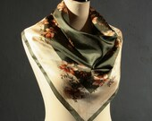 Vintage 70s Moss Green Scarf / Sepia Floral /Satin