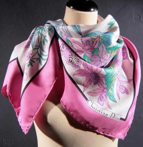 Vintage 70's Christian Dior Silk Scarf / Pink Floral / Hand Rolled Edges