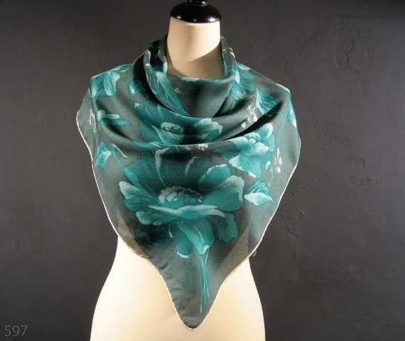 1960s Floral Scarf/ Teal Peony Printed /Hand Rolled Edges