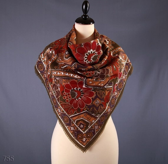 Vintage 1980s Brown Floral Scarf / Terracotta Red Boho Scarf