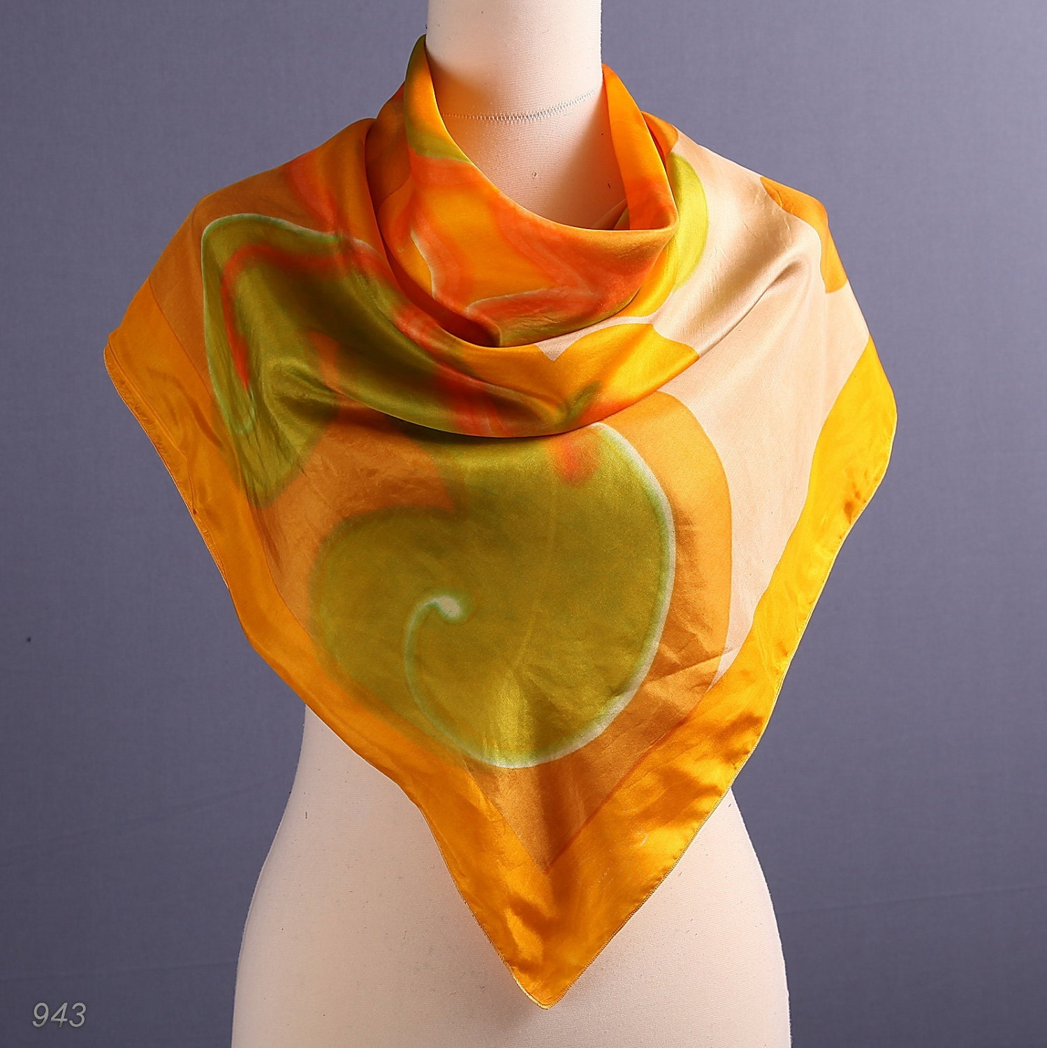 Vintage Tangerine Silk Scarf  Reversible Orange Scarf Vintage Silk Scarves