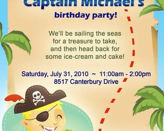 Boy or Girl Pirate Birthday Invitation