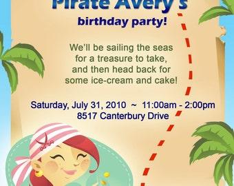 Girl Pirate Birthday Invitation
