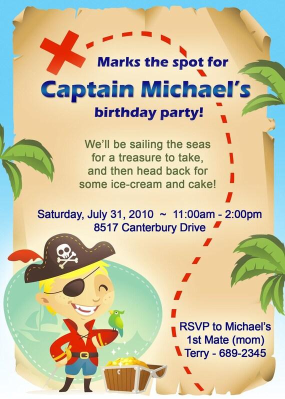 Junge oder Mädchen Piraten Geburtstag Einladung