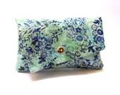 Wallet clutch purse aqua blue Asian floral batik
