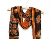 Silk scarf gold brown repurposed Indian batik saree Rajastan
