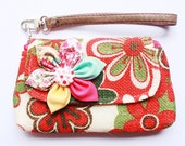PROMOTION Buy 3 Get 1 FREE-Orange Flower Wristlet for cell phone coin iphone blackberry