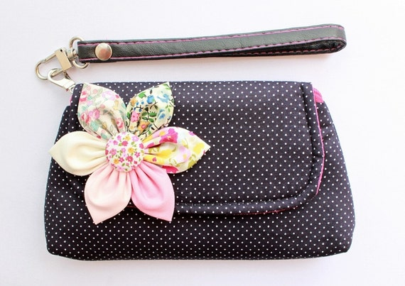 PROMOTION Buy 3 Get 1 FREE-Black Dot  Wristlet Purse Case For Cell phone