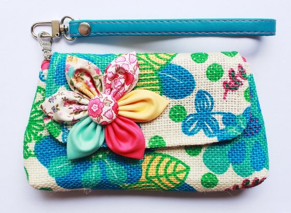 Blue Floral Wristlet cell phone coin iphone blackberry purse SALE Buy 3 Get 1 FREE