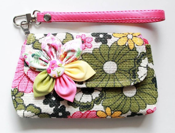 Green Floral iPhone purse wristlet purse zipper wallet  pencil purse  for cell phone coins iPhone PROMOTION Buy 3 Get 1 FREE