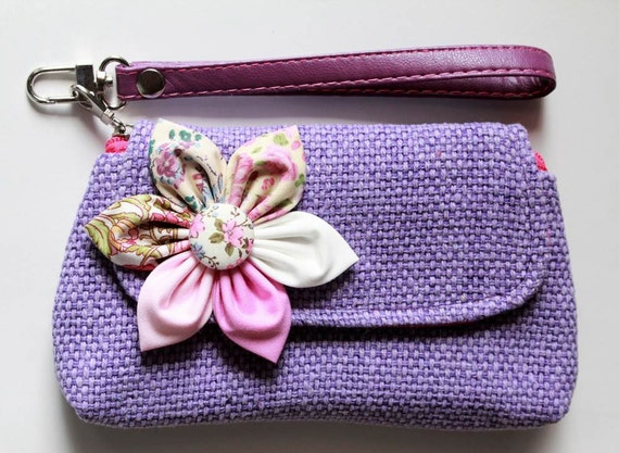 Purple wristlet for cell phone coins iPhone PROMOTION Buy 3 Get 1 FREE