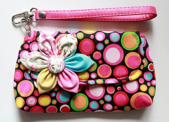 Wristlet Purse for cell phone coin iphone blackberry - Buy 3 Get 1 FREE