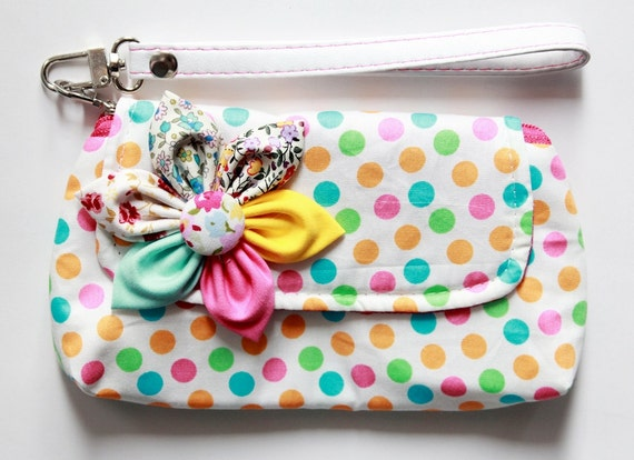 polka dot Wristlet Purse for cell phone coin iphone blackberry - Buy 3 Get 1 FREE