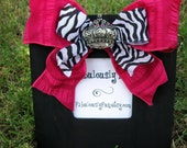 Black Picture Frame with Pink and Zebra Ribbon and a Crown Embellishment