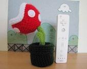 Super Mario Bros Inspired Potted Piranha Plant desk buddy crochet amigurumi doll