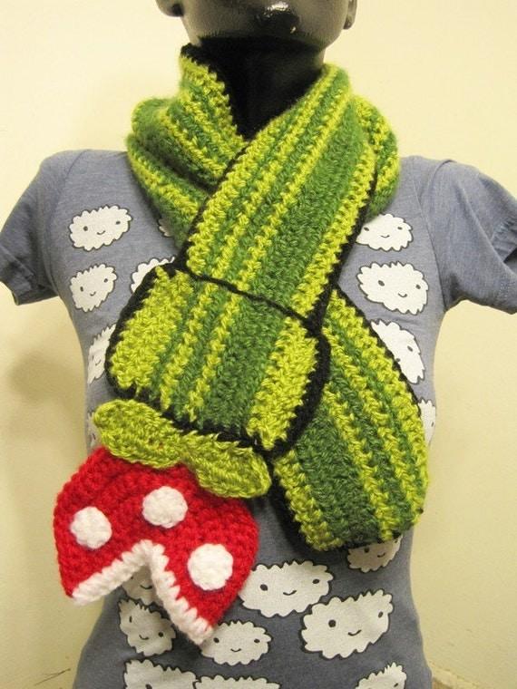Super Mario Bros Piranha Plant Scarf (The Original, Featured on Geekologie) crochet