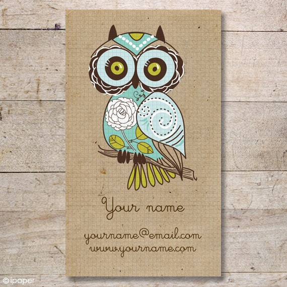 Business Cards - Custom Business Cards - Jewelry Cards - Earring Cards - Display Cards - Retro Owl - No.120