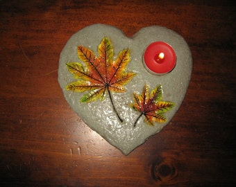Heart leaf tea light holder.  Heart shaped concrete with real maple leaf impressions 6.5in x 7in shipping included