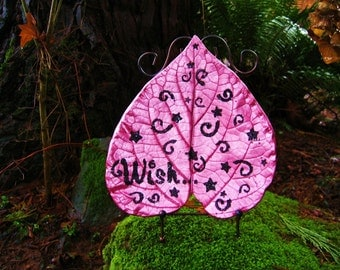 Whimsical pink inspirational heart shaped concrete leaf casting made using a real leaf.  9in x 9in. Shipping included