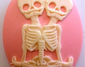 """Conjoined Twins """"Semper et Ubique"""" Cameos 40x30mm, set of 3 in Bone on Pink"""