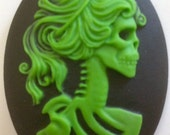 SALE! Skeletal Goddess/Woman Cameo 40x30, set of 4 in Zombie Green