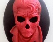 Sugar Skull Rocker Cameos 40x30mm, set of 3 in Crimson