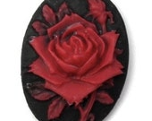 Rose Red Cameo 18x13mm, set of 6 in Red