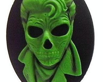 Sugar Skull Rocker Cameos 40x30mm, set of 3 in Zombie Green