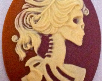 SALE! Skeletal Goddess/Woman Cameo 40x30, set of 4. Ivory on Two Tone Carnelian