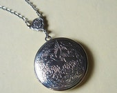ON SALE - Vintage Inspired - Sparrow Locket - Necklace - Antiqued Silver Chain - Handmade Jewelry