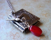 ON SALE - Antiqued Silver Book Locket - Necklace - Wire Wrapped Red Glass Bauble - Vintage Inspired, Keepsake Jewelry