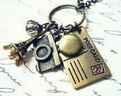 A Postcard From Paris - Charm Necklace - Vintage Locket - Antiqued Brass Keepsake Necklace
