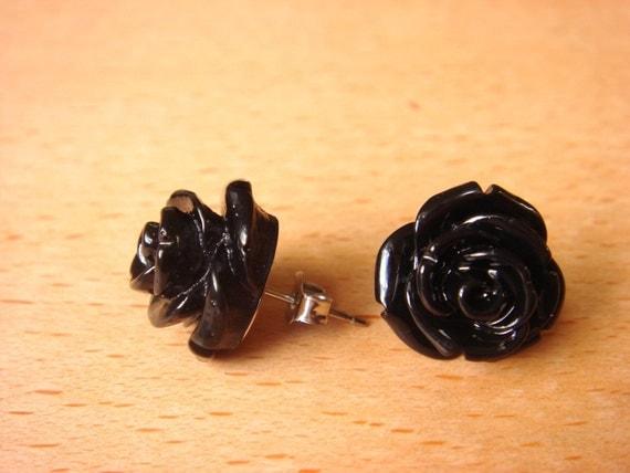 Dark Was The Night - Rose Stud - Earrings