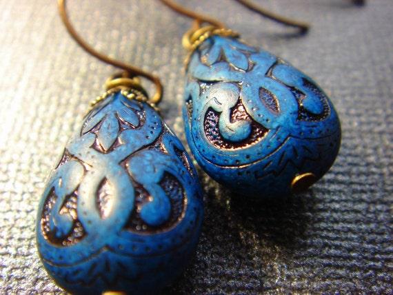Midnight In Paris - Earrings - Wire Wrapped Cobalt Blue Teardrop Beads - Handmade Brass Hook Ear Wires