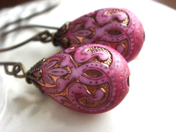 First Comes Love - Earrings - Detailed Wire Wrapped Gold and Pink Teardrop Bead Charms - Handmade Keepsake Jewelry