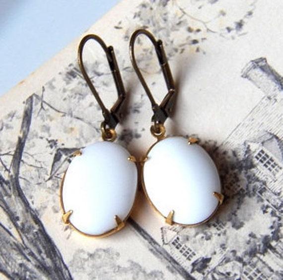 ON SALE - Innocence - Earrings - Vintage Opaque White Glass Jewels - Handmade Keepsake Jewelry