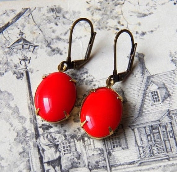 SALE - Lost Without You  - Earrings - Vintage Opaque Red Glass Jewels