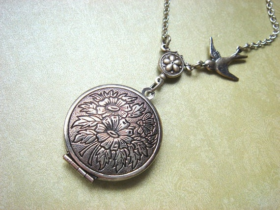 Vintage Inspired - Round Floral Locket - Necklace - Antiqued Silver Chain - Handmade Jewelry