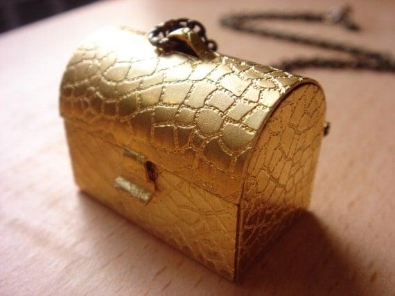 Vintage Brass Treasure Trunk - Necklace - Large Locket Pendant