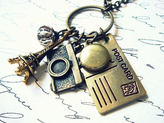 A Postcard From Paris - Charm Necklace - Vintage Locket - Antiqued Brass Keepsake Necklace