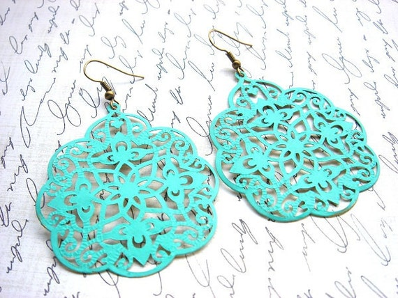 Aged Garden Gate - Earrings - Extra Large Brass Charms - Keepsake Jewelry