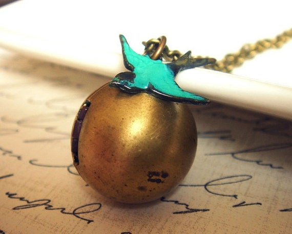 A Little Birdie Told Me - Vintage Orb Locket - Necklace - Photo Keepsake - Handmade Antiqued Brass Chain - Vintage Locket Pendant