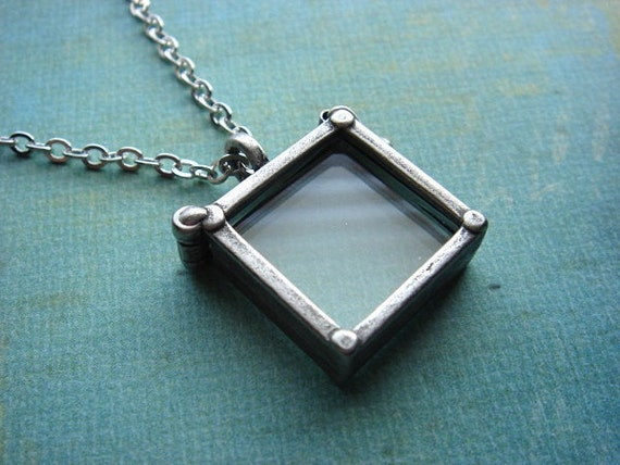 LIMITED SUPPLY - In Stock - Picture Frame, Silver Glass Locket - Necklace - Double Sided Square Pendant - Antiqued Silver Plated Chain