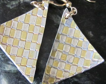 Woven Checkerboard Triangle Silver and Gold Earrings