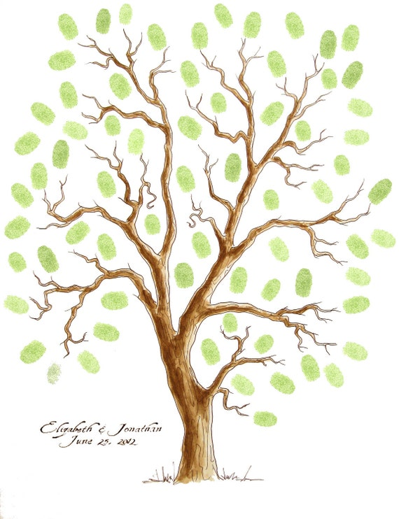 Wedding Tree Guest Book 18 x 24 Thumbprint Tree up 200 guests Customizable ORIGINAL WATERCOLOR PAINTING
